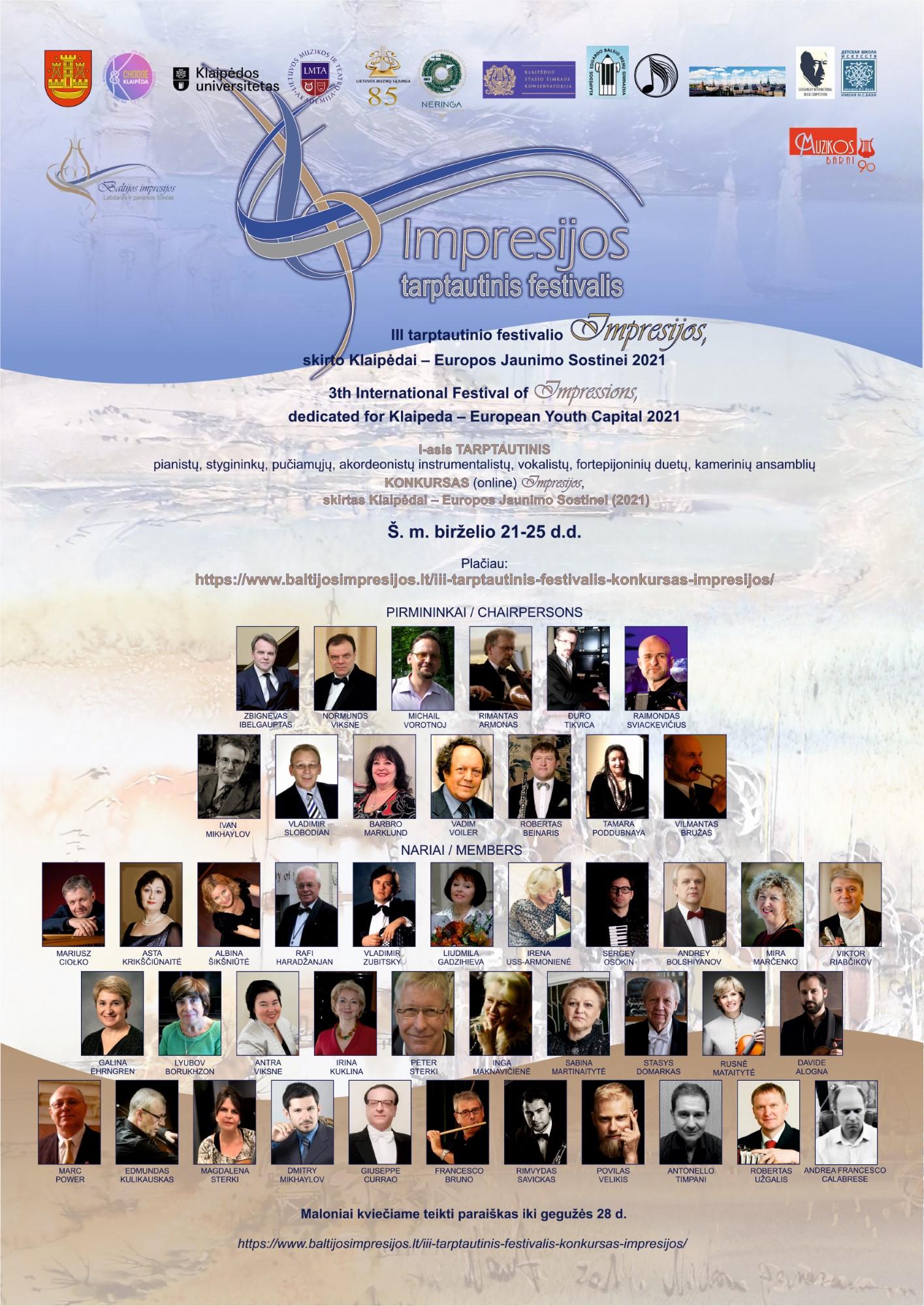 III tarptautinis festivalis IMPRESIJOS, skirtas Klaipėdai – Europos Jaunimo sostinei 2021 Klaipėda, Lietuva
