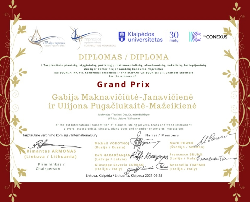 Pagrindinis GRAND PRIX: Gabija Maknavičiūtė-Janavičienė ir Ulijona Pugačiukaitė-Mažeikienė