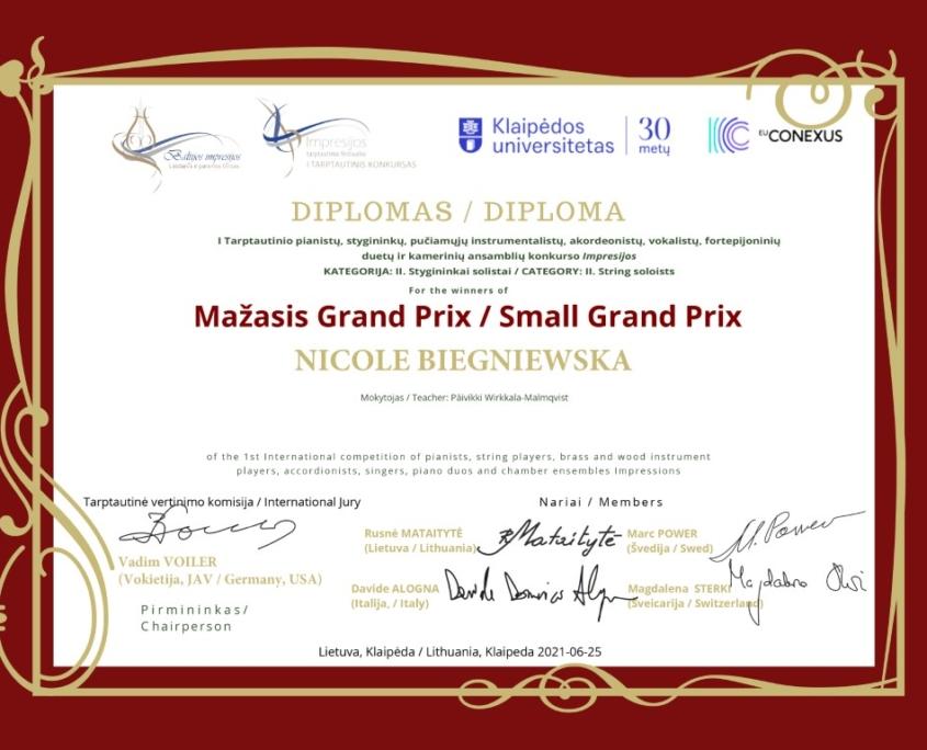 Mažasis Grand Prix: Nicole Biegniewska