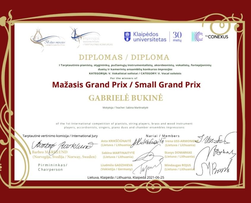 Mažasis Grand Prix: Gabrielė Bukinė