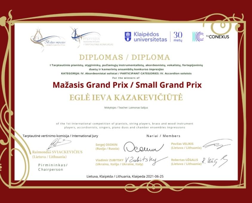 Mažasis Grand Prix: Eglė Ieva Kazakevičiūtė
